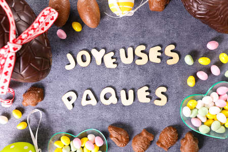 happy easter day and decoration- french text