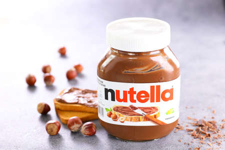 nutella with hazelnut and bread toasted