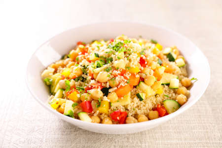 bowl of vegetarian couscous and herbs