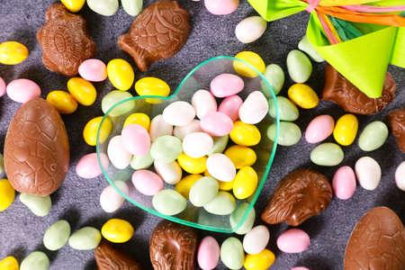 easter egg, chocolate egg in heart shape bowl