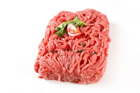 raw minced beef isolated on white background
