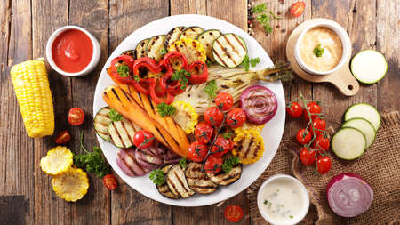 barbecue vegetable and dipping sauce