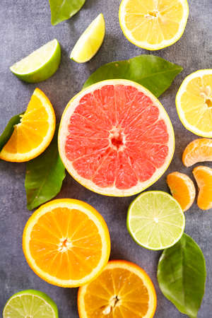 citrus fruit and leaf- top view