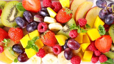 mixede fresh fruit- top view Imagens