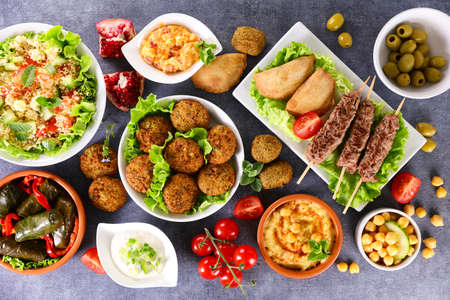 assorted middle eastern and arabic dishes