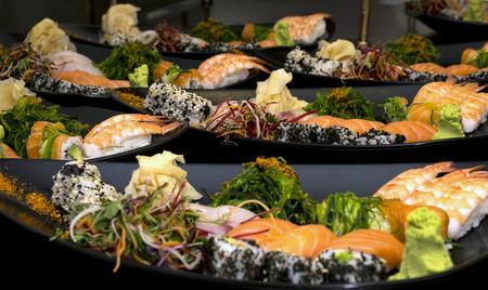 Japanese Sushi mixed plates Stock Photo