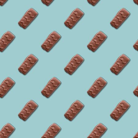 chocolate bar on a pale blue background. seamless pattern. Background image