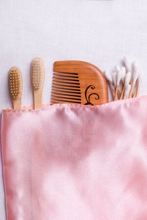 Bath accessories in a case on a white background. Vertical image with copy space. 免版税图像