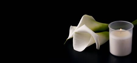 White flowers of Zantedesia with a candle on a black background. Copy space. The concept of estimates, mourning. banner