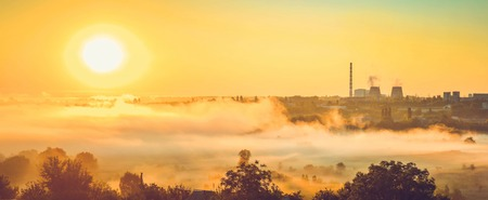 kwaśne deszcze: orange filter, panorama, power station and sunrise with the mist