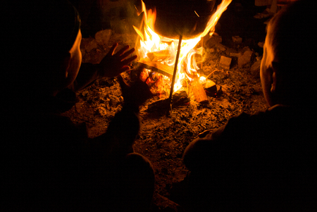 children sit around the campfire at night and warm hands