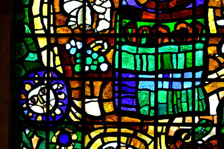 stained glass windows: abstraction stained glass windows of glass of different colors with a thick broad stroke