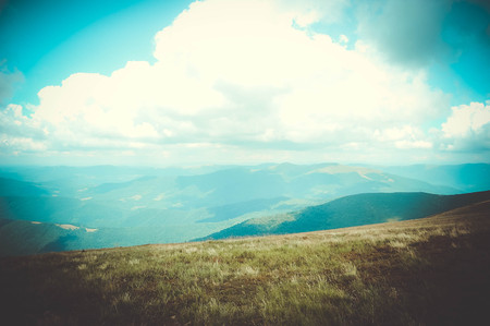 Carpathian mountains landscape cloudy day with filter