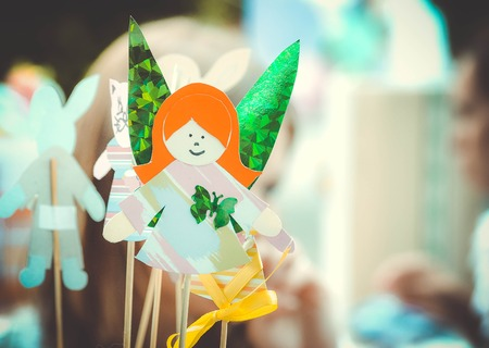 fashion story: Fairy girl made of paper  close-up with filter