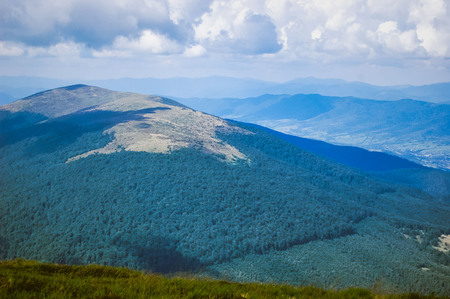 vertex: the top of the Carpathian Mountains on a cloudy summer day, the filter