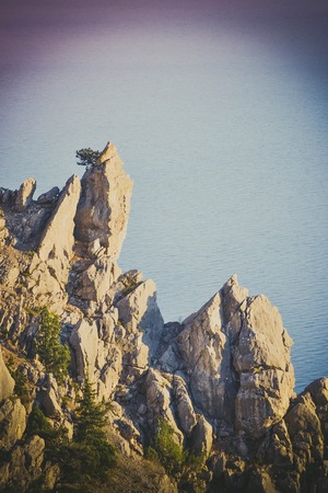 lithic: stone rock Crimea on sea background, Filter