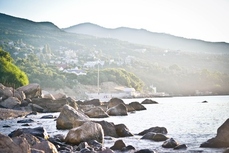 south coast: Mining and seascape, the south coast of Crimea Stock Photo