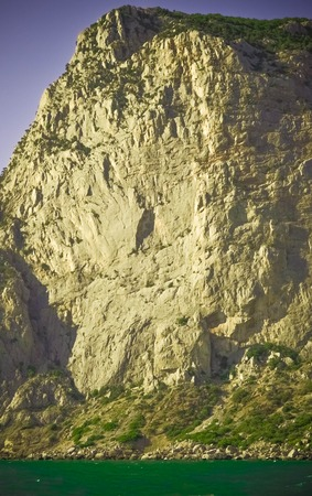 tabular: huge rock by the sea Crimea, filter