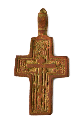 pectoral: ancient and small pectoral crosses on the neck Stock Photo
