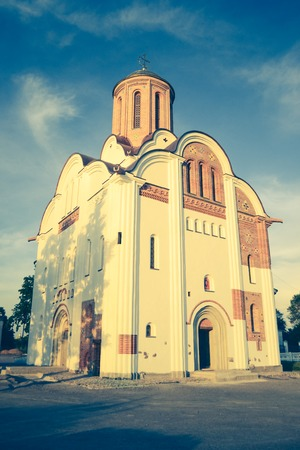 rus: Christian church temple white bottom, historical reconstruction of the average church in Kievan Rus, filter effect Stock Photo