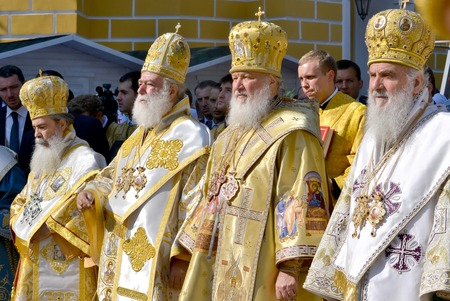 liturgy: Kiev, Ukraine, celebration liturgy in honor of the baptism of Rus in Kiev Pechersk Lavra - 27 July 2013 -: Patriarch Kirill and the other bishops on the service in Kiev, in the Kiev Pechersk Lavra in the summer close-up