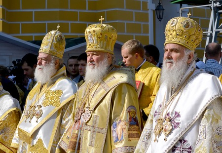 rus: Kiev, Ukraine, celebration liturgy in honor of the baptism of Rus in Kiev Pechersk Lavra - 27 July 2013 -: Patriarch Kirill and the other bishops on the service in Kiev, in the Kiev Pechersk Lavra in the summer close-up