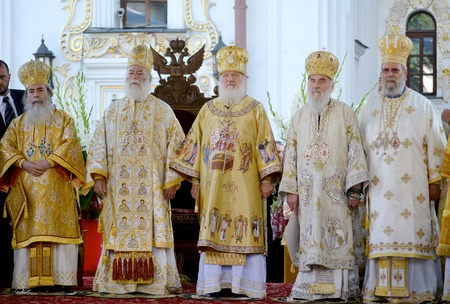 rus: Kiev, Ukraine, celebration liturgy in honor of the baptism of Rus in Kiev Pechersk Lavra - 27 July 2013 -: Patriarch Kirill and the other bishops on the liturgy in Kiev, in the Kiev Pechersk Lavra in festive vestments Editorial
