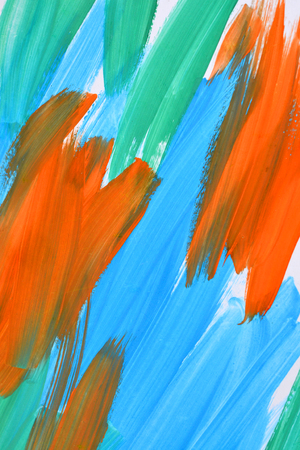 smearing: abstract background strokes of paint blue, orange and green. Emotions: energy and movement