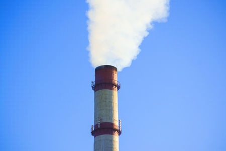 tall chimney: tube top with white smoke on a pure blue sky close