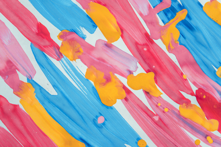 Abstract background brush strips blue, pink, yellow and drops