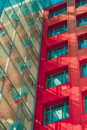 idealistic: modern building in the style of hi-tech, red wall, square windows, transparent glass wall, shadows filter