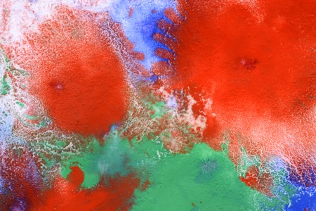 emotionality: red blue green spreads spots on the white surface