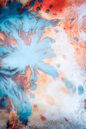 spreads: Abstract background with blots and spreads droplets of different colors on paper close-up, filter Stock Photo