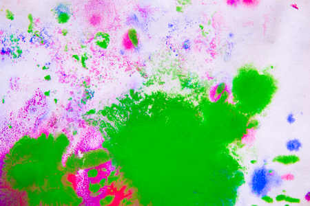 Abstract background of blots pink, green, and blue color with streaks and splashes on white paper