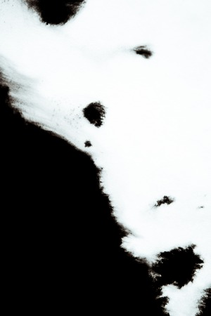 slur: Black Ink Conveyed Over White Close-up Paper. Abstract Background isolated on white background. Ink Stains Spread Out and Absorbed Into the Paper Macro. Stock Photo