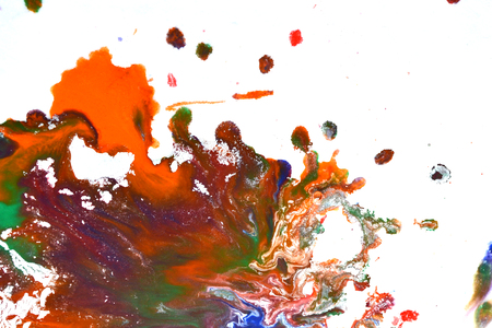 spot the difference: Isolated large patches spots blots of splash of mixed colors on a white background. Divorces and paint drips red, orange, yellow, blue blurred abstract background on a white paper background surface Stock Photo