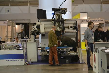 displacement: Kiev, Ukraine International Industrial Exhibition - November 25, 2016: - industrial machinery, Industrial equipment, industry facilities and machine tools, machinery lathes Editorial