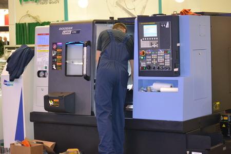 Kiev, Ukraine International Industrial Exhibition - November 25, 2016: - industrial machinery, Industrial equipment, industry facilities and machine tools, machinery lathes Editorial