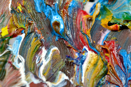 torn: Abstract bright background with oil paint colorful smears macro Stock Photo