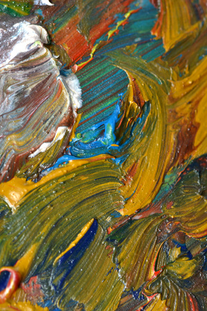 mess: Abstract bright background with oil paint colorful smears macro Stock Photo