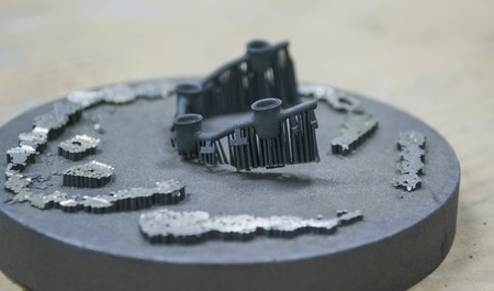 assembled: Object denture body printed on a laser sintering machine on the work disk Stock Photo