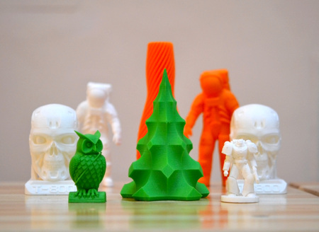 Bright objects printed by a 3d printer close-up. Copy spase, spase for text.