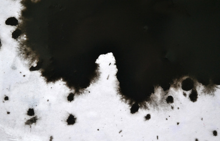 Black Ink Conveyed Over White Close-up Paper. Abstract Background isolated on white background. Ink Stains Spread Out and Absorbed Into the Paper Macro. Stock Photo