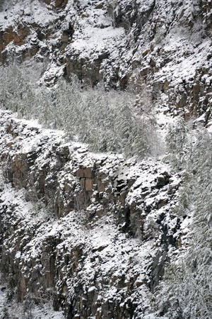 coldness: snow-covered slopes of the granite quarry filter natural background