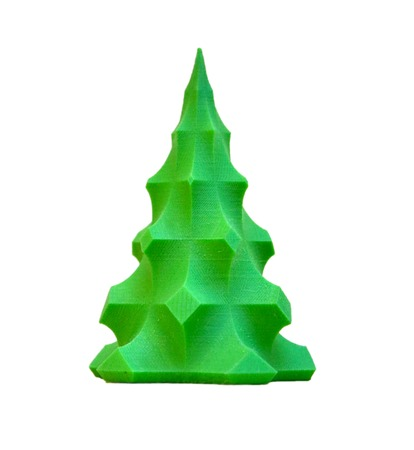 prototyping: Bright colorful object printed by 3d printer. Isolated on white background. Automatic three dimensional 3d printer performs plastic green colors modeling in laboratory. Modern 3D printing technology.