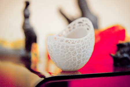 printed material: Objects photopolymer printed on a 3d printer. Stereolithography 3D printer, technology of liquid photopolymerization under UV light