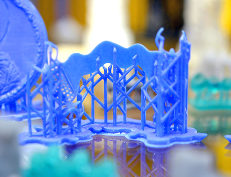 Stereolithography 3D printer, technology of liquid photopolymerization under UV light. Concept of 4.0 industrial revolution