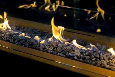 Modern bio fireplot on ethanol gas close-up Archivio Fotografico