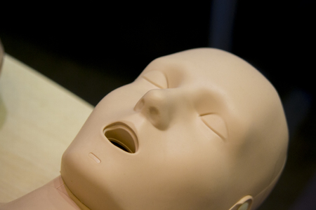 One Layout medical mannequin face man with open mouth close-up, medical exhibit Stock Photo