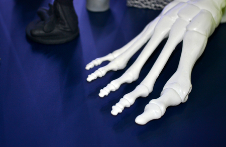 White prototype of the human foot skeleton printed on 3d printer on dark surface. Fused deposition modeling, FDM. Progressive modern additive technology. Concept of 4.0 industrial revolution Imagens